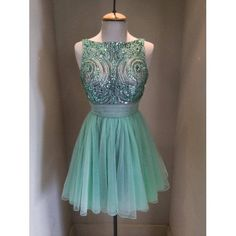 Short Mint Green Bead Tulle Prom Dress Straps Knee-length Graduation Dress Formal Dress Party Dress 2014