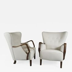 Pair of Danish Architectural Form Club Chairs