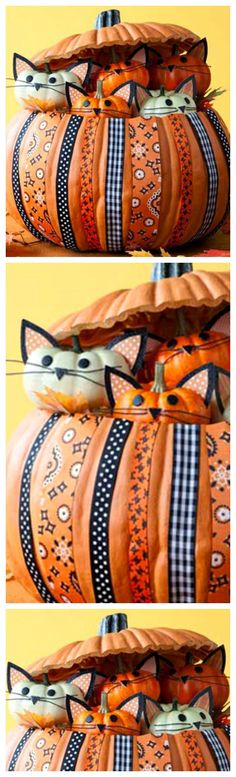 Pin for Later: halloween decorations pumpkin. How To Make A Kittycat Pumpkin ~ adorable pumpkin overflowing with kitties. The cutest Halloween decoration on the block. Halloween Kostüm, Holidays Halloween, Halloween Treats, Halloween Pumpkins, Faux Pumpkins, Halloween Ornaments, Cute Halloween Decorations, Hallowen Ideas, Favorite Holiday