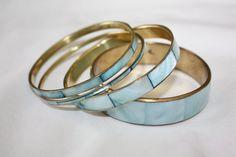 Vintage  Bangle Bracelet  Blue MOP  Brass 1960s  by patwatty, $25.00