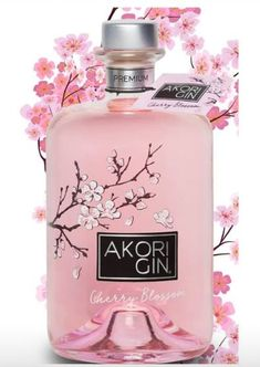 Akori Cherry Blossom Gin,Japanese inspired gin produced in Barcelona with rice based spirit, Botanical is cherry blossom , the symbolic Japanese flower. Citrus and ginger notes alongside floral tones of cherry blossom. Gin Recipes, Gin Cocktail Recipes, Alcohol Bottles, Liquor Bottles, Craft Gin, Bussiness Card, Schnapps, Bottle Packaging, Perfume
