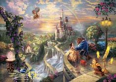 """Thomas Kinkade-""""Beauty and the Beast """"- Open edition 14"""" by 14"""" Canvas Giclee Prints"""