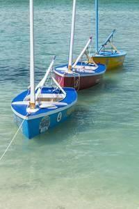 Bahamas, Exuma Island. Boats Moored in Harbor