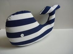 Blue and White Whale Nautical Pillow by EllaLouDesigns, $18.00