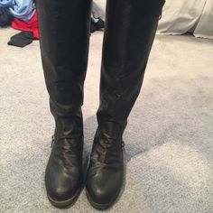 Black boots Black boots with silver hardware. Size womens 7. Used but in great condition. I ship next day Shoes Combat & Moto Boots