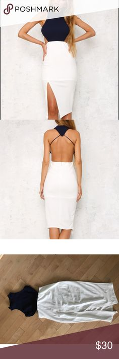 Hello Molly - Athens Dress White/Navy Cutout dress with open back and high slit in front. Navy blue on top, white on bottom Hello Molly Dresses Midi
