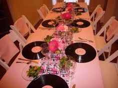 Pretty in pink baby shower/party ideas. This would be a cute birthday for a woman of a certain age (wink;) that loved this movie when she was a teenager. Just sayin'. 50th Party, Birthday Parties, Birthday Table, Vinyl Platten, Pink Showers, Pink Parties, Theme Parties, Green Christmas, Party Cakes