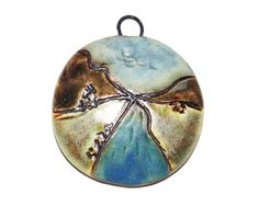 Ceramic Landscape Pendant Handmade Stoneware River by Grubbi