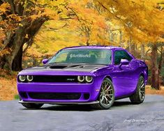 Hot Rod Art – Dodge Challenger Hellcat – Plum Crazy – Muscle Car Print – Auto Art Giclee Prin – Top Of The World Maserati, Bugatti, Chevrolet Bel Air, Chevrolet Camaro, Dodge Challenger Hellcat, Dodge Hemi, Mustang Cars, Ford Mustang, Dodge Charger