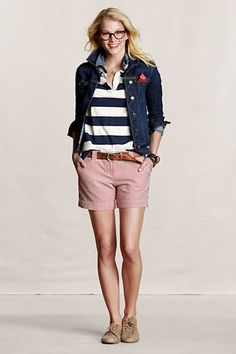 preppy at heart-love seersucker Adrette Outfits, Shorts Outfits Women, Neue Outfits, Preppy Outfits, Short Outfits, Fashion Outfits, Preppy Fashion, Summer Outfits, Preppy Clothes