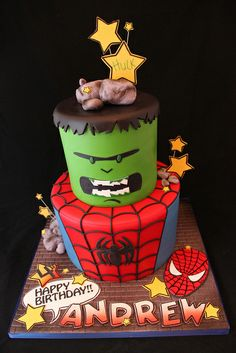 Super Hero Cake.  If someone made me this for my birthday I'd love them forever.  Except it would have to be Thor and Captain America of course...