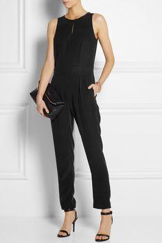 Rag & bone                               Adeline leather-trimmed silk jumpsuit