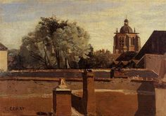 Orleans, View from a Window Overlooking the Saint Peterne Tower - Camille Corot