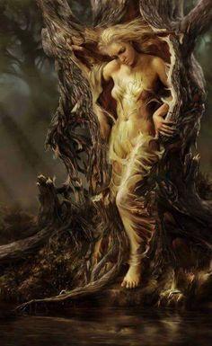 Steve De La Mare ~ Digital Fantasy painter Dryad - A dryad is a tree nymph, or female tree spirit, in Greek mythology. In Greek drys signifies Magical Creatures, Fantasy Creatures, Fantasy Kunst, Mystique, Mythological Creatures, Gods And Goddesses, Goddesses Greek, Fantasy Artwork, Greek Mythology
