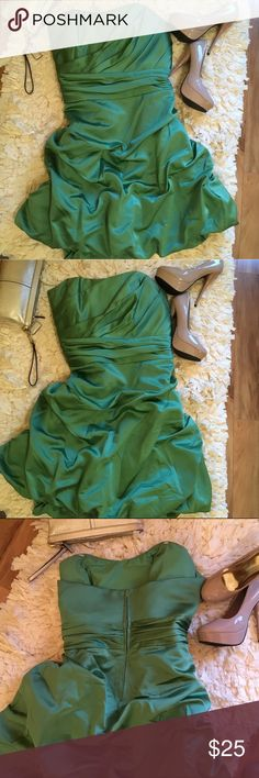 Strapless cocktail dress Beautiful green Satin strapless balloon style dress. Great used condition. Hanger straps were removed.  Smoke free home. David's Bridal Dresses Strapless
