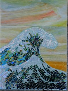 """Maplestone Gallery  ~  Contemporary Mosaic Art  """"Ode to Hokusai""""  by Suzanne Steeves"""
