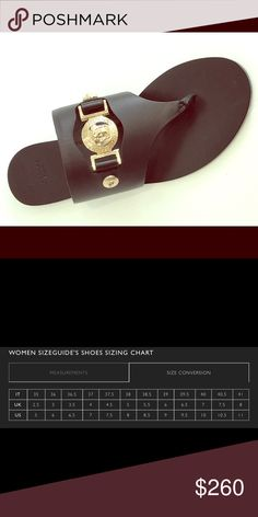 Versace Calf Leather Thong Sandal, Black, BNIB Simple spring sandal in black calf leather with gold medusa head detail and hardware. These shoes are brand new in original box. Versace Shoes Sandals