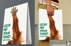 Greenpeace - Give Me Your Hand campaign for orangutans whose rainforest habitat is being depleted by palm oil plantations and illegal logging in Indonesia and Malaysia.