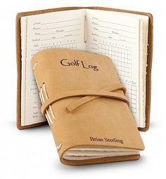 Leather Bound Golf Log – Personalized Gift. The perfect personalizaed gift for golfers, this elegant, leather bound golf log will keep all their scores safe and neatly together. Small enough to fit in a golf bag, but big enough to clearly see scores.