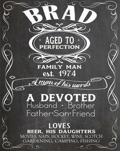 Custom Adult Birthday Chalkboard - Aged to Perfection - Jack Daniels - Whiskey - Scotch - 40th Birthday - 50th - 60th - 70th - 80th- 90th