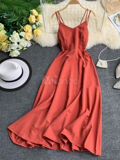  Share Maxi Slip Dresses Sleeveless Red Floor Length Dress For Women Mode Outfits, Dress Outfits, Casual Dresses, Girl Outfits, Casual Outfits, Fashion Dresses, Dress Up, Summer Dresses, Slip Dresses