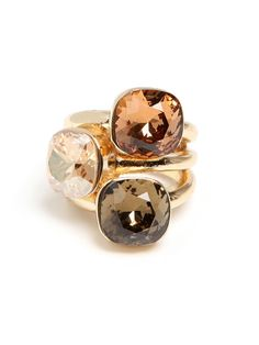 3 in 1! This ring offers the great stacked looked, without having to worry about keeping track of the set. These are great for the office, or as an addition to lots of nighttime baubles.