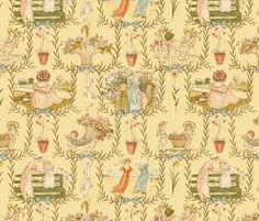 Kate Greenaway-inspired toile wallpaper