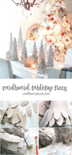 Craftberry Bush | Cardboard Tabletop Christmas Tree tutorial | http://www.craftberrybush.com