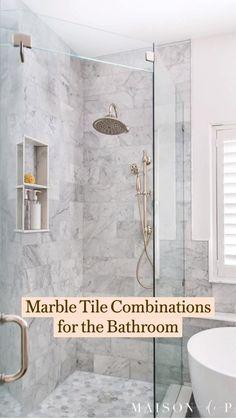 Marble Bathroom Floor, Tuscan Bathroom, White Marble Bathrooms, Marble Showers, Eclectic Bathroom, Mosaic Bathroom, Bathroom Interior Design, Modern Bathroom, Master Bathroom