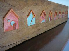 Painel de madeira de demolição com cerâmica inserida R$380,00