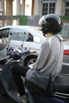 ~oversized sweater, black skinnies and Vespa. Oh. Yeah.~