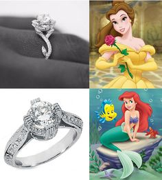 Disney's Belle and Ariel Engagement Rings... I want Belle's!!!!!!