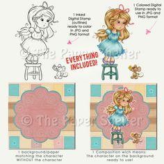 Too Cute To Be Afraid Of! - Digital Stamp