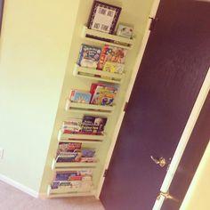Set of 6 hanging/ floating Book shelves/bathroom beauty supply organizer, Spice rack by MorgansCraftWorld on Etsy