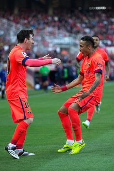 Lionel Messi (L) of FC Barcelona celebrates scoring their opening goal with teammate Neymar Jr. (R)during the La Liga match between Sevilla FC and FC Barcelona at Estadio Ramon Sanchez Pizjuan on April 2015 in Seville, Spain. It was a match to be watched Fc Barcelona, Barcelona Soccer, Camp Nou, Lionel Messi, Messi 2015, Real Madrid, Messi And Neymar, Argentina National Team, Barcelona Spain