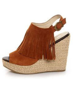 I have fallen in love!!!!! -- Chelsea Crew Apache Tan Suede Fringe Espadrille Wedges