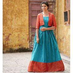 Butti red Koti and Cyan South Fashion Gown Saree Gown, Sari Dress, Saree Blouse, Ghagra Saree, Silk Sarees, Bandhani Dress, Dress Skirt, Long Dress Design, Dress Neck Designs