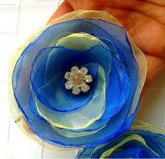Pale Yellow  Cobalt Blue Organza Bridal and  by rosesupplies, $20.00