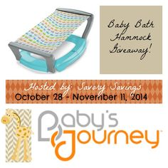 Enter to #win a Baby Bath Hammock from Baby's Journey! The soft mesh sling keeps your infant calm and relaxed during bath time - and the patented Roller-Sling™ retracts into the base so it's easy to fold up for travel and storage! $24.99 ARV. #Giveaway ends November 12 (12:00am).