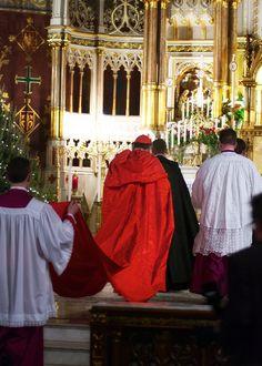 cappa magna, cardinal burke / Saint Francis de Sales Oratory, Saint Louis, MO.
