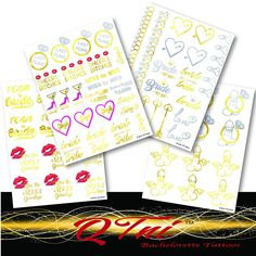 QTni Bachelorette Party Tattoos - Metallic and Temporary To Dress Up Your Body - Set of 69 *** Be sure to check out this awesome product. (Note:Amazon affiliate link)