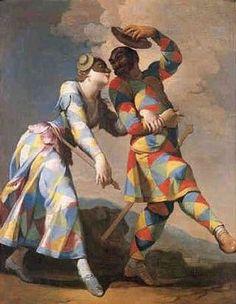 Giovanni Domenico Ferretti (1692-1758) Arlequin et sa compagne  - La commedia dell arte