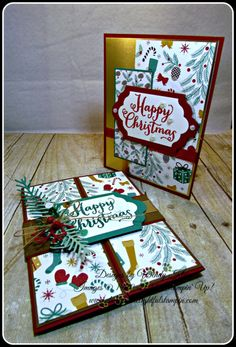 """Stampin' Up!, Oh What Fun, Suite Seasons, Presents & Pinecones DSP, Gold Foil, Lots of Labels framelits, Pretty Pines Thinlits, Versamark ink, Real Red & Emerald Envy Glitter embossing powder, Cherry Cobbler 3/8"""" Taffeta ribbon Gold 5/8"""" Satin Ribbon, Burlap 5/8"""" ribbon, Gold Metallic Thread, Mini Jingle Bells, Sequins (various) - designed by Wendy Klein for Doggone Delightful Stampin'"""