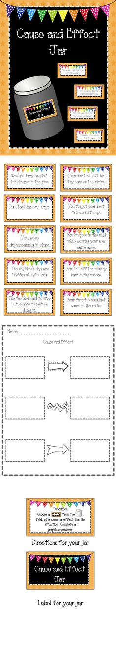 and Effect Jar for Workstations and Centers A cause and effect activity for workstations or early finishers!A cause and effect activity for workstations or early finishers! Reading Strategies, Reading Skills, Teaching Reading, Reading Comprehension, Guided Reading, Learning, Cause And Effect Activities, Third Grade Reading, Second Grade