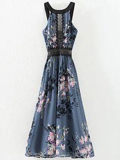 High Waisted Round Neck Floral Print Dress