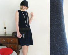 Black flapper dress, 1920s dress, art deco, Great Gatsby, Charleston jazz dance, 20s wedding, party dress in black and blue