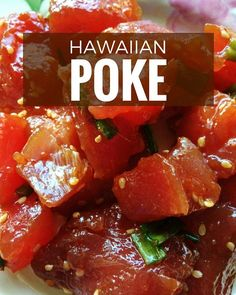 Wondering how to make poke? This Hawaiian poke recipe takes only 5 minutes. The fresh dish is found everywhere in Hawaii and so healthy and gluten-free. Fish Recipes, Seafood Recipes, Cooking Recipes, Fresh Tuna Recipes, Hawaii Food Recipes, Cooking Bacon, Cooking Games, Healthy Cooking, Seafood