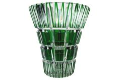 1910-1950 Emerald Green & Clear Cut-Glass Vase from The Czech Republic