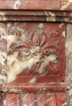 Louis XVI mantel in Fleur de Pêcher marble - Marble Marble House, Marble Floor, Napoleon Iii, Peach Flowers, Architectural Antiques, Acanthus, Louis Xvi, Shades Of Purple, Rosettes