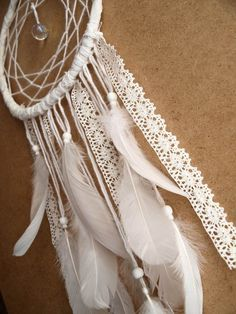 Large Dream Catcher - White Dreams - With Sparkling Crystal Prism, White Swan…